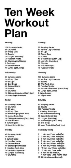 Description 10 Week Workout Plan
