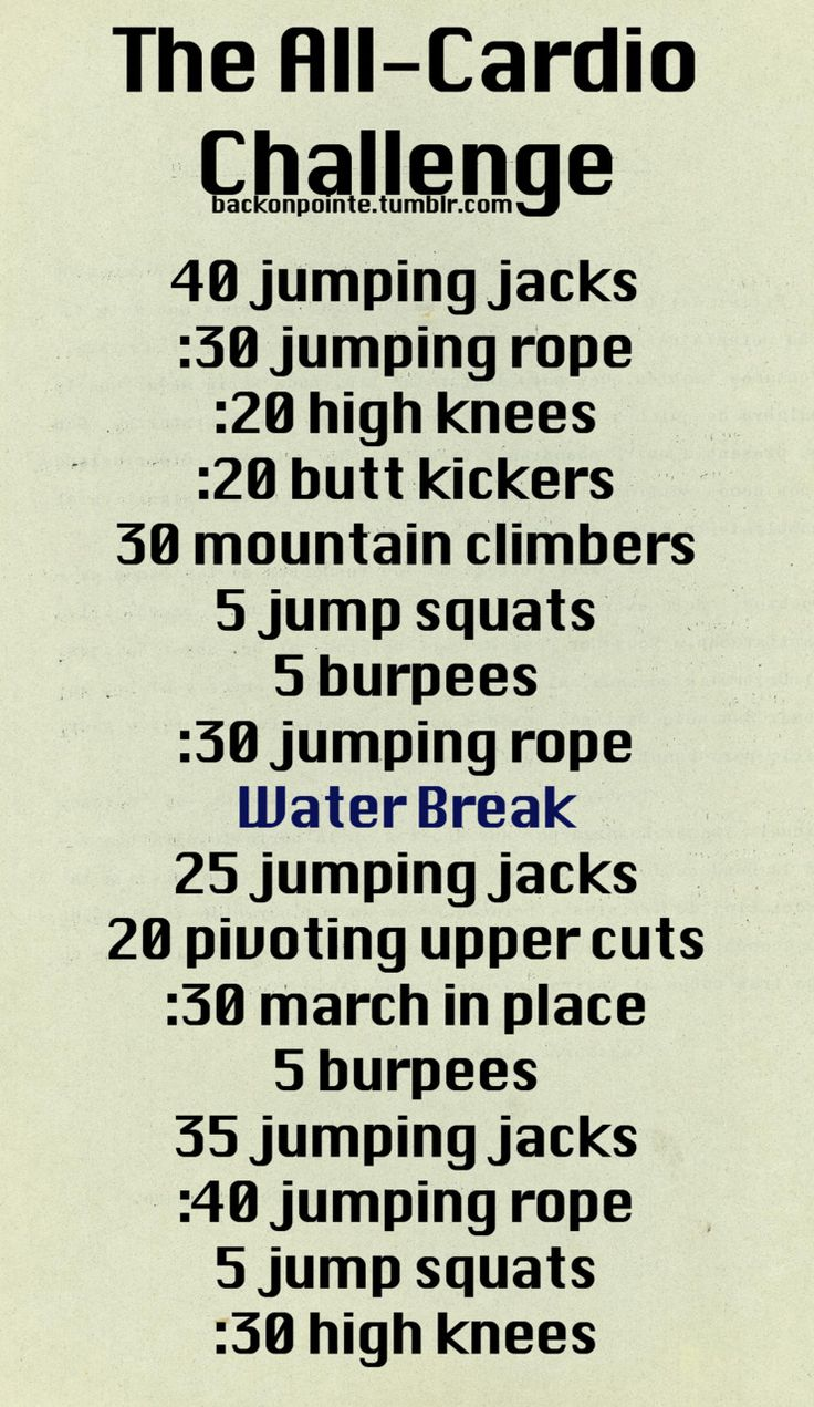 Workout Plans An All Cardio Challenge If You Need More