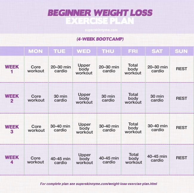 Description Beginner Weight Loss Exercise Plan